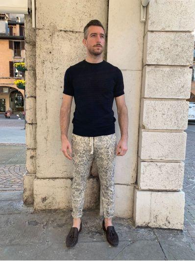 Pantalone fantasia lino officina