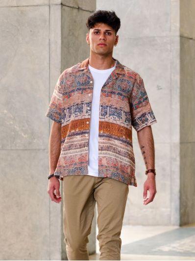 Camicia lino manica corta etnica