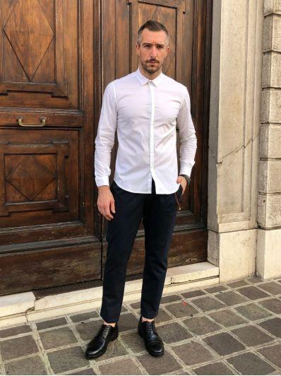 Camicia colletto bottone argento officina36