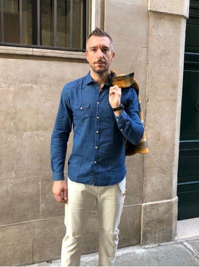 Camicia colletto denim overd