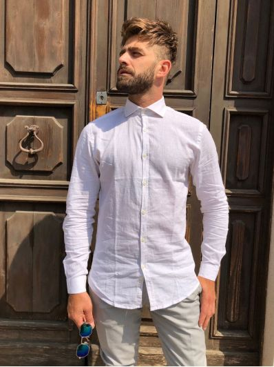 Camicia colletto lino