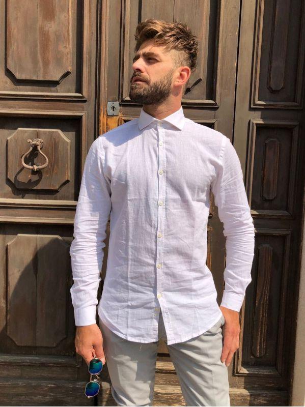 Camicia colletto lino