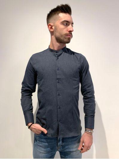 Camicia colletto coreano effetto jeans