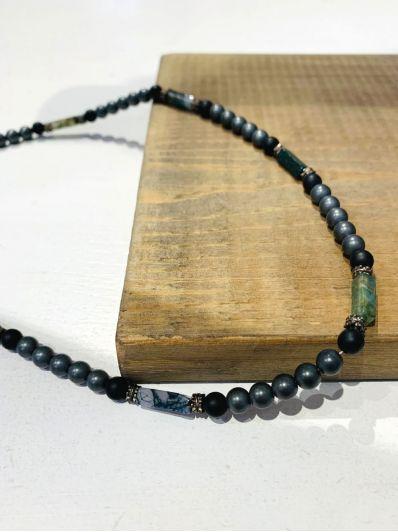 collana perline tonde e rettangolari